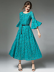 cheap -Women's Going out Vintage / Sophisticated Flare Sleeve A Line Dress - Patchwork Lace