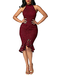 cheap -Women's Ruffle Party Club Street chic Bodycon Dress - Solid Colored Lace Ruffle Crew Neck Summer Blue Black Wine L XL XXL / Skinny