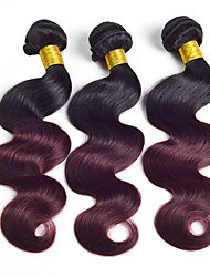 cheap -3 Bundles Brazilian Hair Body Wave Human Hair Natural Color Hair Weaves / Hair Bulk Ombre Hair Weaves / Hair Bulk Ombre Human Hair Weaves Silky Colors changing Best Quality Human Hair Extensions / 8A