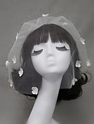 cheap -One-tier Wedding Veil Blusher Veils with Beading / Appliques / Ruffles Tulle / Birdcage