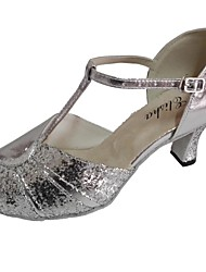 cheap -Women's Dance Shoes Sparkling Glitter / Leather Latin Shoes Sandal Customized Heel Silver / Blue / Silver / Black / Indoor