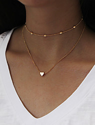 cheap -Women's Choker Necklace Pendant Necklace Chain Necklace Double Heart Ladies Personalized Simple Style Fashion Euramerican Earrings Jewelry Gold / Silver For Dailywear Daily Casual Outdoor clothing