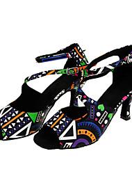 cheap -Women's Dance Shoes Flocking / Fabric Latin Shoes Buckle / Pattern / Print Sandal Flared Heel Customizable Black / Performance / Leather / EU40
