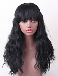 cheap -Human Hair Wig Long Wavy Wavy Hot Sale Machine Made Women's Black#1B Medium Auburn