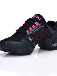 cheap -Women's Dance Shoes Tulle Dance Sneakers Splicing Sneaker Flat Heel Gold / Pink / Practice