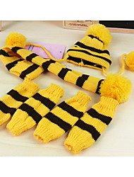 cheap -Dog Socks Bandanas & Hats Winter Dog Clothes Warm Rainbow Yellow Pink Costume Woolen Stripes Keep Warm XXS XS S M L