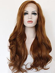 cheap -Synthetic Lace Front Wig Curly Wavy Natural Wave Curly Lace Front Wig Medium Length Long Brown Synthetic Hair Women's Brown