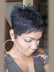 cheap -Human Hair Capless Wigs Human Hair Straight Short Hairstyles 2019 Halle Berry Hairstyles Short Machine Made Wig Women's
