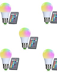 cheap -5pcs A50 3W RGB E27 LED Bulb LED Lamp 16 Color 24 key IR Remote Control Chandelier for Living Room Dimmable AC85-265V