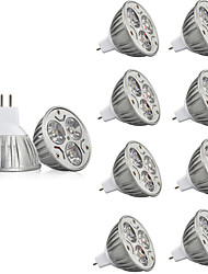 cheap -10pcs 3 W LED Spotlight 250 lm MR16 3 LED Beads High Power LED Decorative Warm White Cold White 12 V