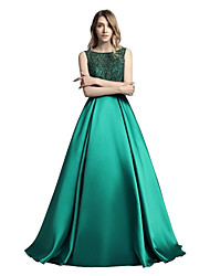 cheap -A-Line Boat Neck Sweep / Brush Train Mikado Sparkle & Shine / Open Back / See Through Formal Evening / Black Tie Gala Dress with Beading / Sequin 2020