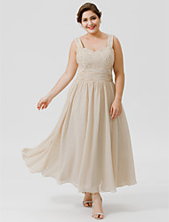 cheap -Ball Gown Straps Tea Length / Ankle Length Chiffon / Beaded Lace Sleeveless Classic & Timeless / Elegant & Luxurious / Plus Size Mother of the Bride Dress with Beading / Ruched 2020