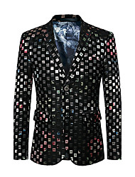cheap -Men's Party / Going out / Club Active / Sophisticated Fall / Winter Regular Blazer, Shine Notch Lapel Long Sleeve Cotton / Polyester Print Black / Slim