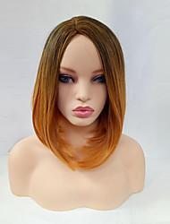 cheap -Wig Blonde Medium Length Black / Gold Synthetic Hair Women's Blonde / Ombre Hair