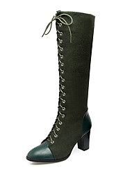 cheap -Women's Boots Knee High Boots Plus Size Chunky Heel Round Toe Vintage Ankle Strap Riding Boots Dress Zipper Lace-up Solid Colored Synthetic Nylon Leatherette Knee High Boots Winter Black / Green