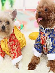 Недорогие -Кошка Собака Плащи Комбинезоны Зима Одежда для собак Желтый Синий Костюм Хлопок Контрастных цветов Косплей Новый год XS S M L XL XXL