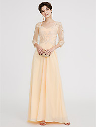cheap -A-Line Open Back Pastel Colors Holiday Cocktail Party Prom Dress V Neck Half Sleeve Floor Length Chiffon Lace with Lace Beading 2020 / Illusion Sleeve / Formal Evening