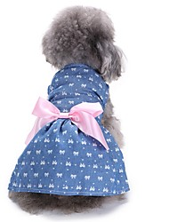 cheap -Cat Dog Dress Tuxedo Christmas Dog Clothes Blue Costume Cotton Bowknot Party Casual / Daily Wedding XS S M L