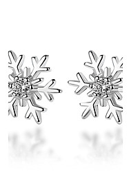 cheap -Women's Diamond Cubic Zirconia Stud Earrings Flower Snowflake Ladies Silver Plated Earrings Jewelry Silver For Ceremony Valentine