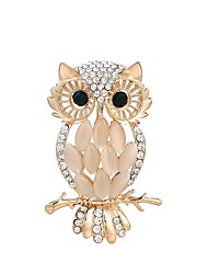 cheap -Women's Cubic Zirconia Brooches Owl Ladies Rhinestone Brooch Jewelry Gold For Ceremony Office & Career