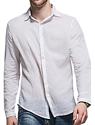 cheap -Men's Daily Going out Cotton Shirt - Solid Colored Basic Classic Collar Gray / Long Sleeve / Summer / Fall