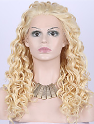 cheap -Synthetic Lace Front Wig Curly Wavy Natural Wave Kinky Curly Lace Front Wig Blonde Medium Length Long Blonde Synthetic Hair Women's Blonde