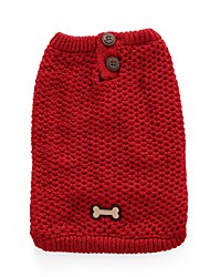 cheap -Dog Sweater Winter Dog Clothes Red Blue Christmas Costume Baby Small Dog Acrylic Fibers Bone Casual / Daily XXS XS S M L