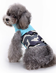 cheap -Dog Vest Dog Clothes Geometric Blue Down Cotton Costume For Spring &  Fall Winter Men's Women's Casual / Daily