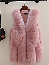 cheap -Women's Daily Fall / Winter Regular Fur Coat, Solid Colored V Neck Faux Fur Blushing Pink / Dark Gray / Gray