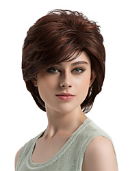 cheap -Synthetic Wig Straight Straight Layered Haircut Wig Short Brown Synthetic Hair Women's Highlighted / Balayage Hair Side Part Brown MAYSU