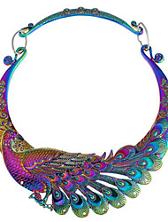 cheap -Women's Synthetic Diamond Pendant Necklace Peacock Ladies Vintage Indian Chunky Alloy Silver Rainbow Necklace Jewelry For Party Daily