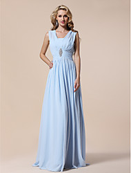 cheap -Sheath / Column V Neck Floor Length Chiffon Elegant / Pastel Colors Prom / Formal Evening / Military Ball Dress with Draping / Crystal Brooch / Pleats 2020