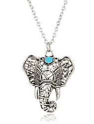 cheap -Women's Turquoise Pendant Necklace Elephant Animal Ladies Bohemian Boho Silver Plated Turquoise Silver Necklace Jewelry For Casual Street