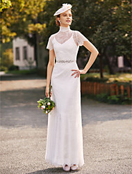 cheap -Two Piece Sheath / Column Wedding Dresses High Neck Floor Length Lace Charmeuse Short Sleeve Beautiful Back with Sash / Ribbon Beading 2021