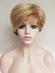 cheap -Synthetic Wig Straight Straight Asymmetrical With Bangs Wig Blonde Short Strawberry Blonde / Light Blonde Synthetic Hair Women's Natural Hairline Blonde