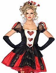 cheap -Queen of Hearts Dress Masquerade Women's Halloween Carnival Oktoberfest Beer Festival / Holiday Polyester Red Women's Carnival Costumes Solid Color Fashion / Gloves