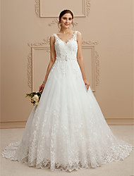 cheap -Ball Gown Wedding Dresses V Neck Court Train Tulle Beaded Lace Lace Over Tulle Spaghetti Strap Glamorous Illusion Detail Backless with Beading Appliques 2021