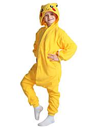 cheap -Kid's Kigurumi Pajamas Pika Pika Onesie Pajamas Coral fleece Yellow Cosplay For Boys and Girls Animal Sleepwear Cartoon Festival / Holiday Costumes / Leotard / Onesie