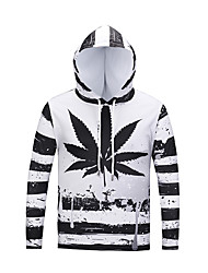 cheap -Men's Daily Sports Hat / Pattern / Leisure T-shirt Print Hooded White / Long Sleeve / Fall