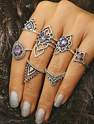 cheap -Women's Ring Crystal 7pcs Silver Crystal Alloy Geometric Ladies Vintage Daily Jewelry