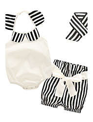 cheap -Baby Girls' Floral / Stripes Casual / Daily Striped / Print Sleeveless Clothing Set White / Toddler
