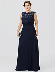 cheap -A-Line Jewel Neck Floor Length Chiffon / Beaded Lace Sleeveless Elegant & Luxurious / Beautiful Back / Plus Size Mother of the Bride Dress with Ruched / Beading / Appliques 2020 / See Through