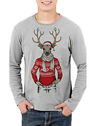 abordables -Tee-shirt Homme, Géométrique - Coton Sports Chic de Rue Col Arrondi Gris / Manches Longues / Automne