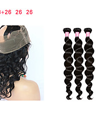 cheap -3 Bundles with Closure Mongolian Hair Curly Loose Wave Deep Wave Remy Human Hair Human Hair Weaves 8a Human Hair Extensions / 10A