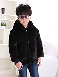 cheap -Toddler Boys' Solid Colored Long Sleeve Regular Faux Fur Jacket & Coat Brown