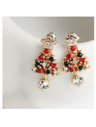 cheap -Women's Stud Earrings Tree of Life Ladies Cute Rhinestone Earrings Jewelry Gold For Christmas Evening Party