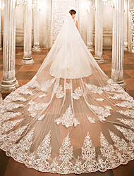 cheap -One-tier Wedding Veil Cathedral Veils with Appliques Lace / Tulle / Angel cut / Waterfall