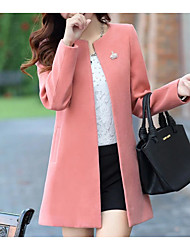 cheap -Women's Going out Fall / Winter Regular Coat, Solid Colored Round Neck Long Sleeve Polyester Yellow / Blushing Pink / Fuchsia