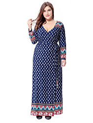 cheap -Women's Plus Size Party Daily Going out Boho Sophisticated Maxi Loose Sheath Swing Dress - Polka Dot Geometric Paisley Cut Out V Neck Fall Green Navy Blue XXXXL XXXXXL XXXXXXL