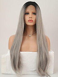 cheap -Synthetic Lace Front Wig Straight Straight Lace Front Wig Long Black / Grey Synthetic Hair Women's Middle Part Sew in Gray